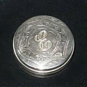 "Antique English Silver Dresser Jar with Monogram ""E"" - 7"" long Crystal Tube"