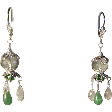 Prasiolite Green Amethyst Tsavorite Garnet Briolette Sterling Silver Earrings