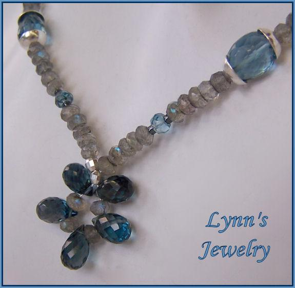 London Blue Topaz Flashing Labradorite Sterling Silver Necklace