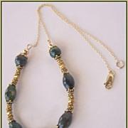 Dark Green Moss Agate Fancy Jasper 22Kt Gold Vermeil 14Kt Gold Fill Necklace