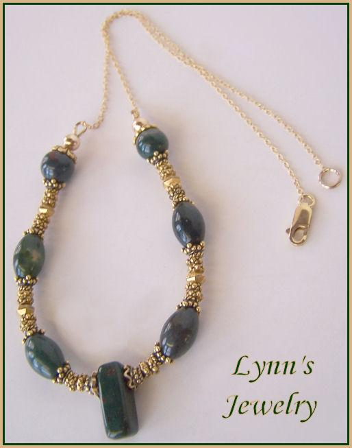 Dark Green Moss Agate Fancy Jasper 22Kt Gold Vermeil 14Kt Gold Fill Necklace