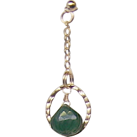 Emerald Green Carved Hydrothermal Quartz Briolette 14Kt Gold Fill Earrings