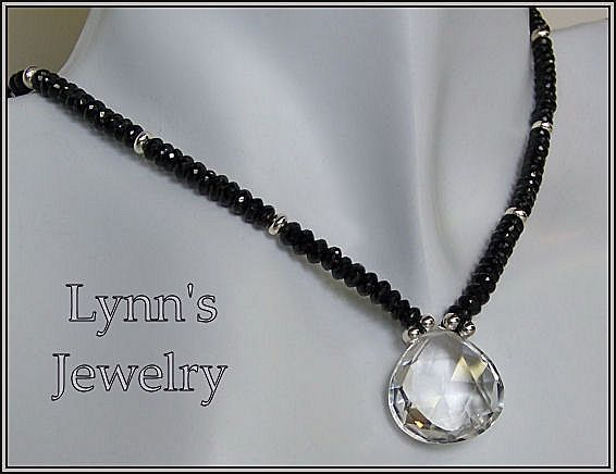 Clear Rock Crystal Quartz Faceted Black Spinel Sterling Silver Necklace