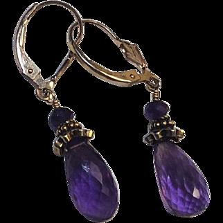 Faceted Light purple Amethyst Briolette 14Kt Gold Fill Earrings