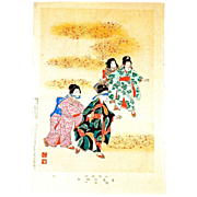 "SHUNTEI MIYAGAWA (1872-1914) ""Blind Man's Bluff"" Meiji Period Original Woodblock Print"