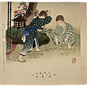 "SHUNTEI MIYAGAWA (1872-1914) ""Children Playing"" Meiji Period Original Woodblock Print"