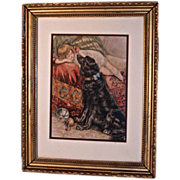"""Reclining Child & Large Black Dog""  Victorian Print"