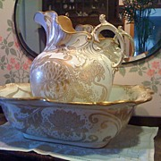 ROYAL DOULTON -  Art Nouveau Pitcher & Basin Ca1902 - 22K Gold Chrysanthemums