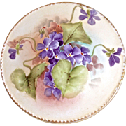 HAVILAND Violet Bouquet - Hand Painted Covered Bowl for Side Table, Dresser etc.