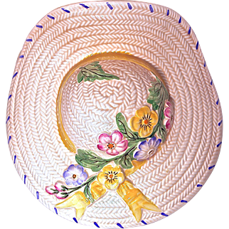 ENGLISH WALL/POCKET VASE  by Solian Ware - Creamy Straw Hat with Flowers and Yellow Ribbon