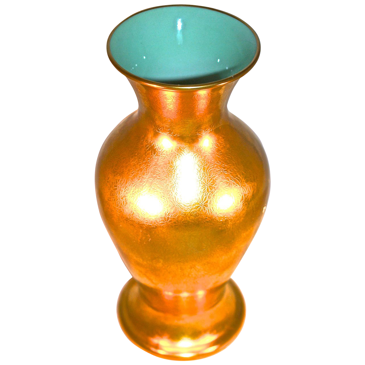 "PICKARD - 10"" Vase - Rose & Daisy 24 Karat Applied All Over Gold (AOG) Cased Turquoise Glass  Interior"