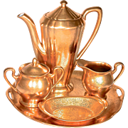 PICKARD - Rose & Daisy 24K Encrusted All Over Gold (AOG) Coffee/Tea Set on Tray/Under Plate