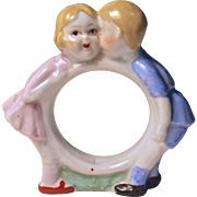GIRL & BOY KISSING NAPKIN RING - Nippon - Hand Painted Porcelain