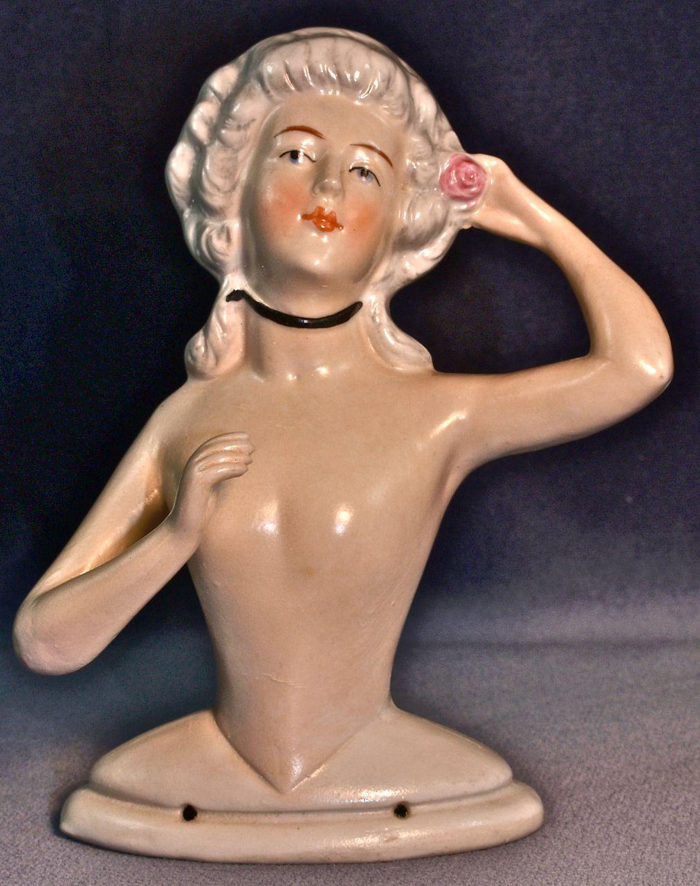 KARL SCHNEIDER  (Signed) Large Nude Half-Doll Placing a Pink Rose in Her Grey Pompadour Hair