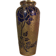 "LEON LEDRU of VAL ST. LAMBERT - Important Art Nouveau ""Roses on Encrusted Cobalt Blue""  Vase"