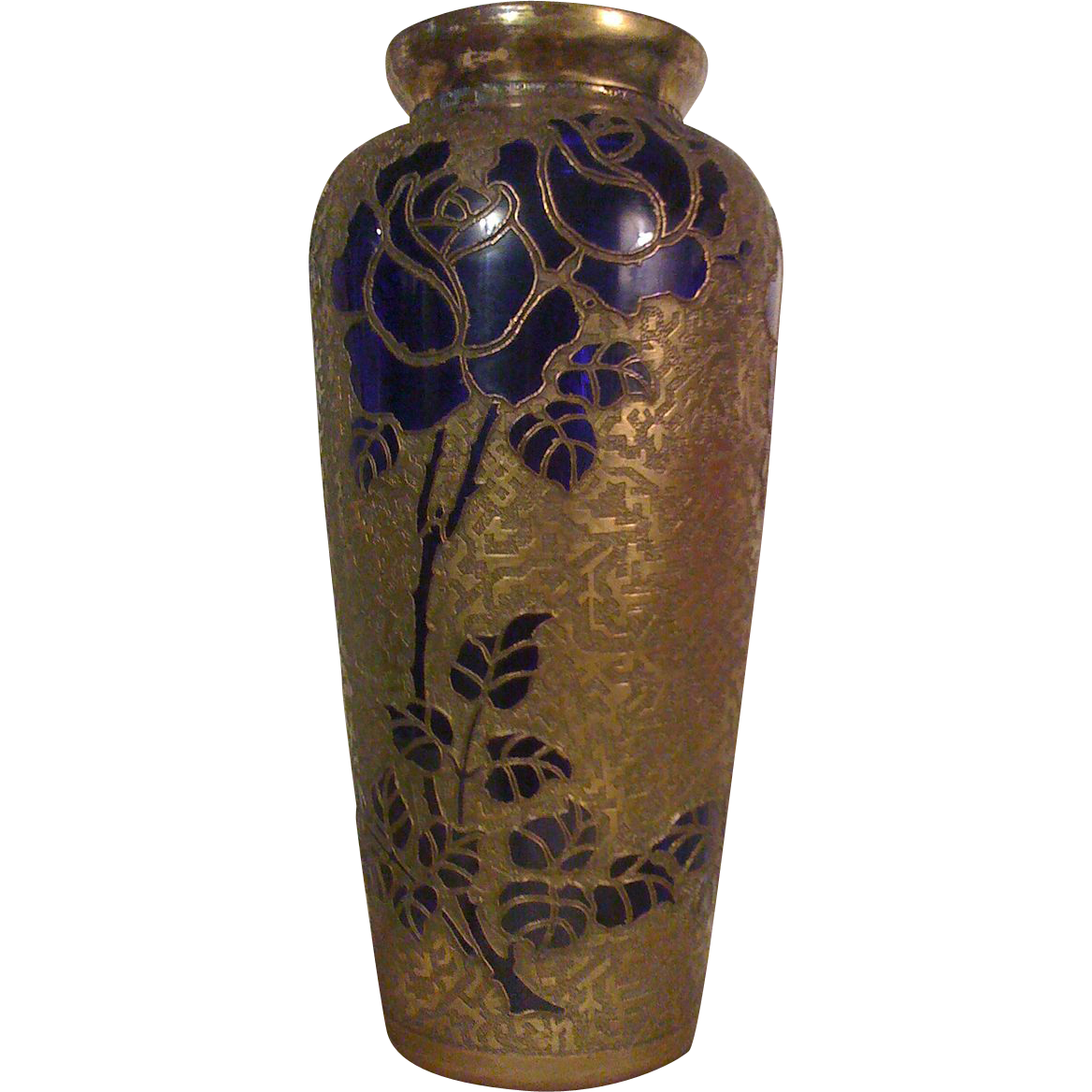 "LEON LEDRU of VAL ST. LAMBERT - Important Art Nouveau ""Roses on Encrusted Cobalt Blue""  Vase"