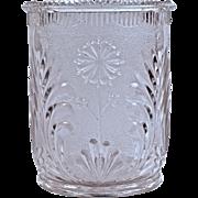 """STIPPLED DAISY' SPOONER - Pressed Glass - 1880"
