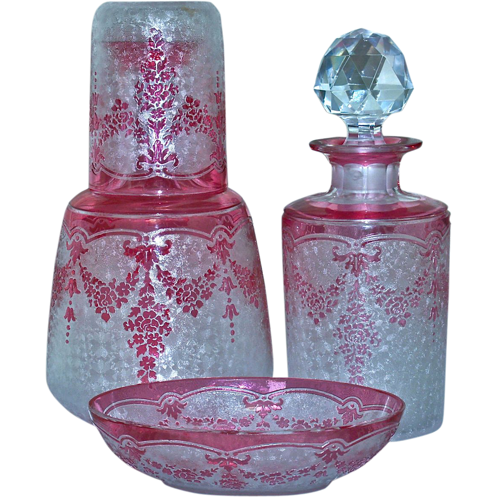 Cameo Cranberry Glass Vanity Set - From Lynnstrauss On Ruby Lane