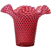 FENTON Cranberry Opalescent Hobnail Single Crimp Hat Vase.