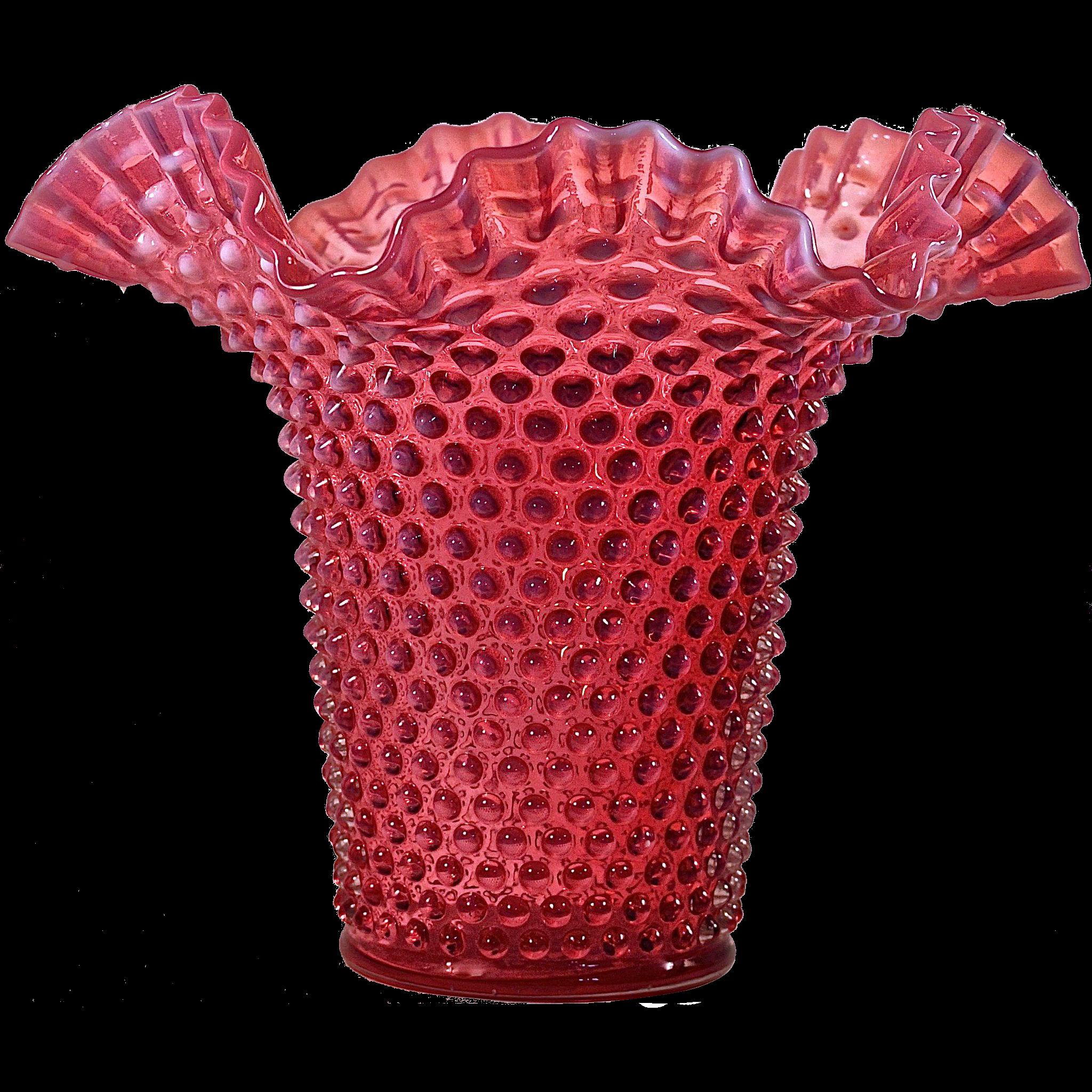 FENTON Cranberry Opalescent Hobnail Single Crimp Hat Vase.
