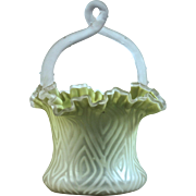 SATIN GLASS BASKET with Applied Camphor Thorn Handle by. Mt. Washington - Lime Moire Pattern Mother-Of-Pearl Velvet Cased Art Glass