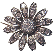 UNIQUE  Rare Sterling  Paste Flower Hatpin-Brooch Combo.  1910