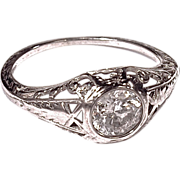 DIAMOND RING - Platinum Filigree - .75 carats