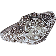 FILIGREE RING - 10 Karat White Gold Set with a .80 Carat Diamond