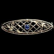 14K Gold Natural Blue Sapphire Bar Pin-Krementz