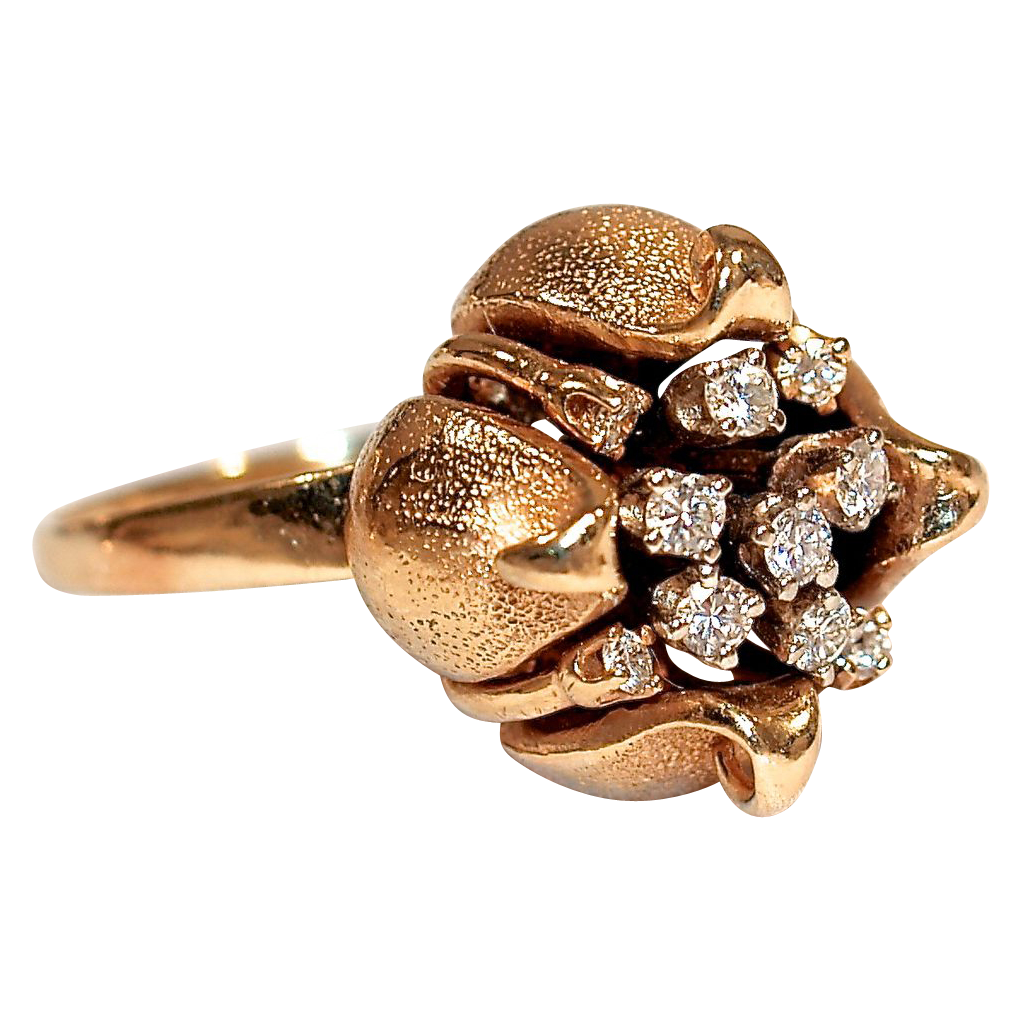 14 Karat Gold Poppy Pod/Lotus Flower with Mine-Cut Diamond Cluster Center