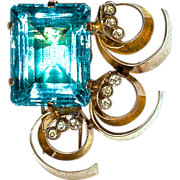 VERMEIL FUR CLIP - Huge Unfoiled Aquamarine Rhinestone