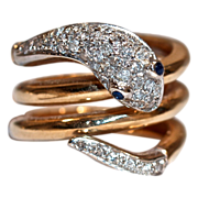 Snake Gold 14K Ring - Sapphire Eyes & Mine-Cut Diamonds set in Platinum