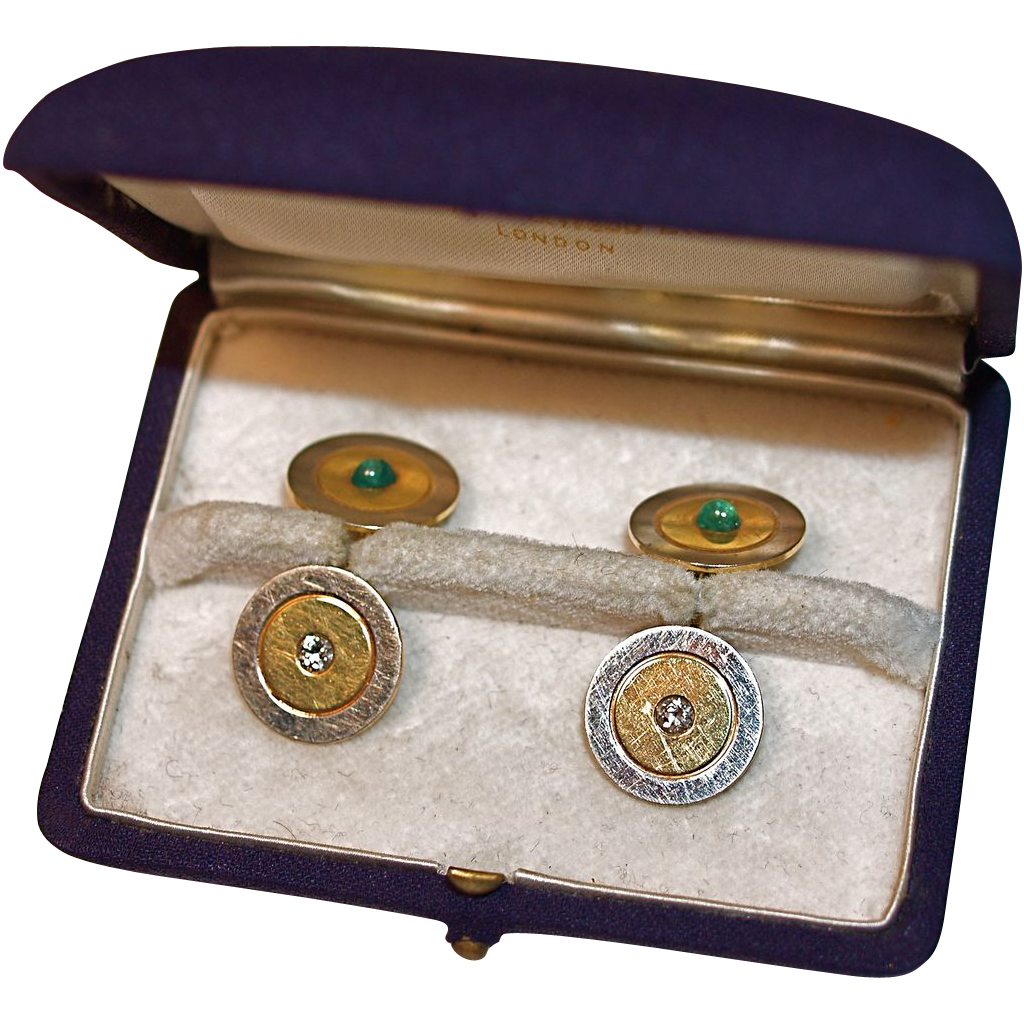 14 Karat Gold Diamond & Emerald Cuff Links - Original Mappin & Webb Ltd Case