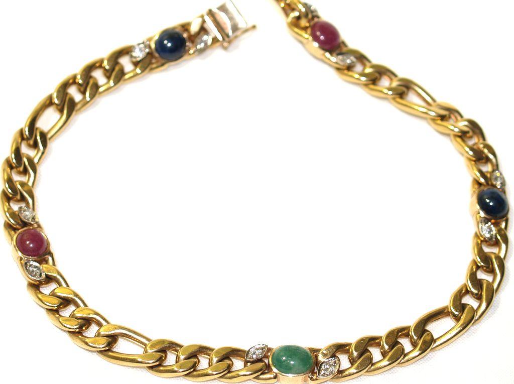 14 Karat Gold Figaro Choker - Diamonds & Cabochon Sapphires, Rubies & Emerald