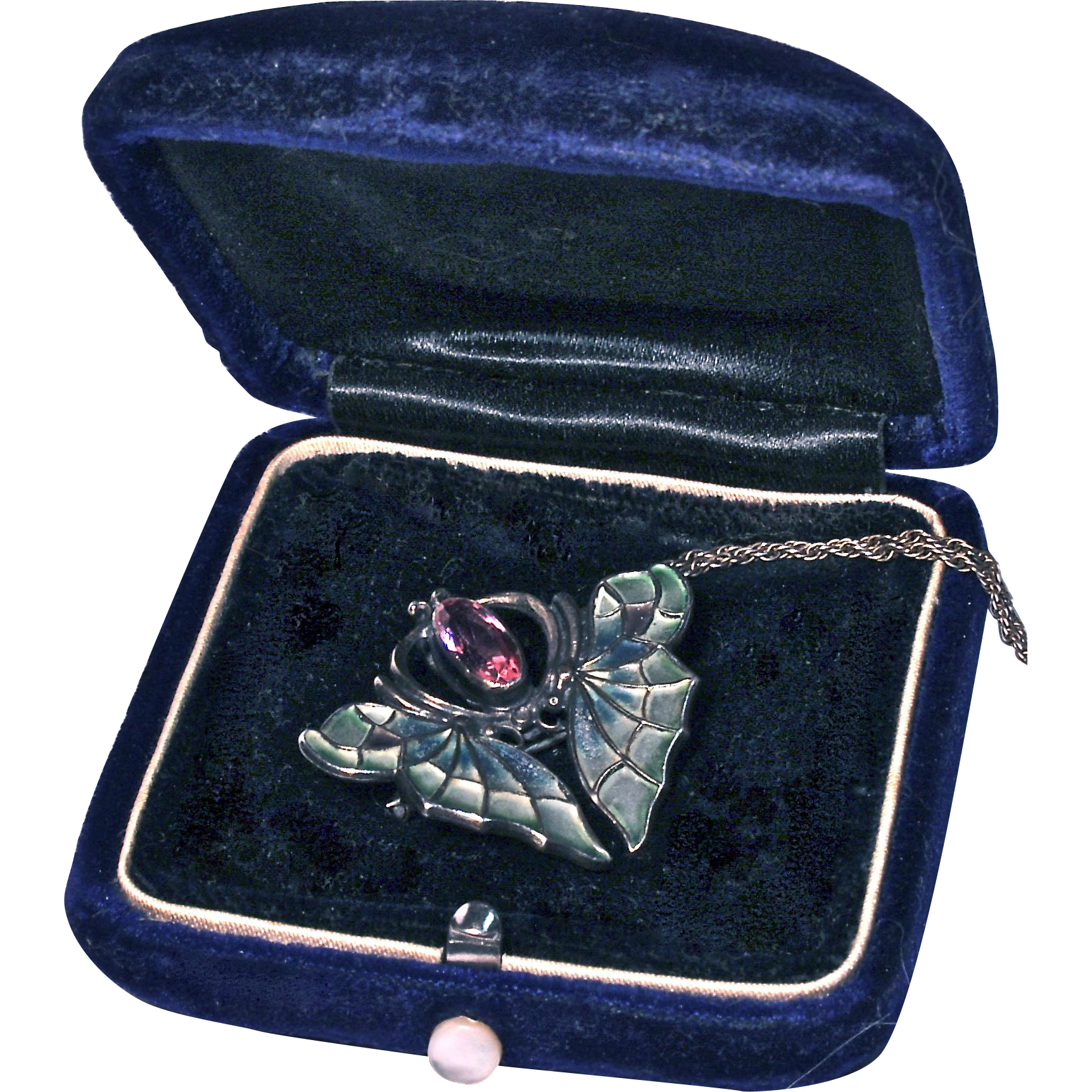MEYLE & MAYER Plique-a -Jour Butterfly Pendant/Necklace/Pin/Fob