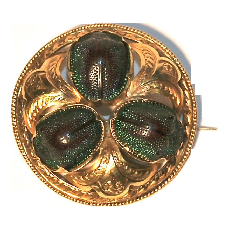 18K Scarab Beetle Brooch