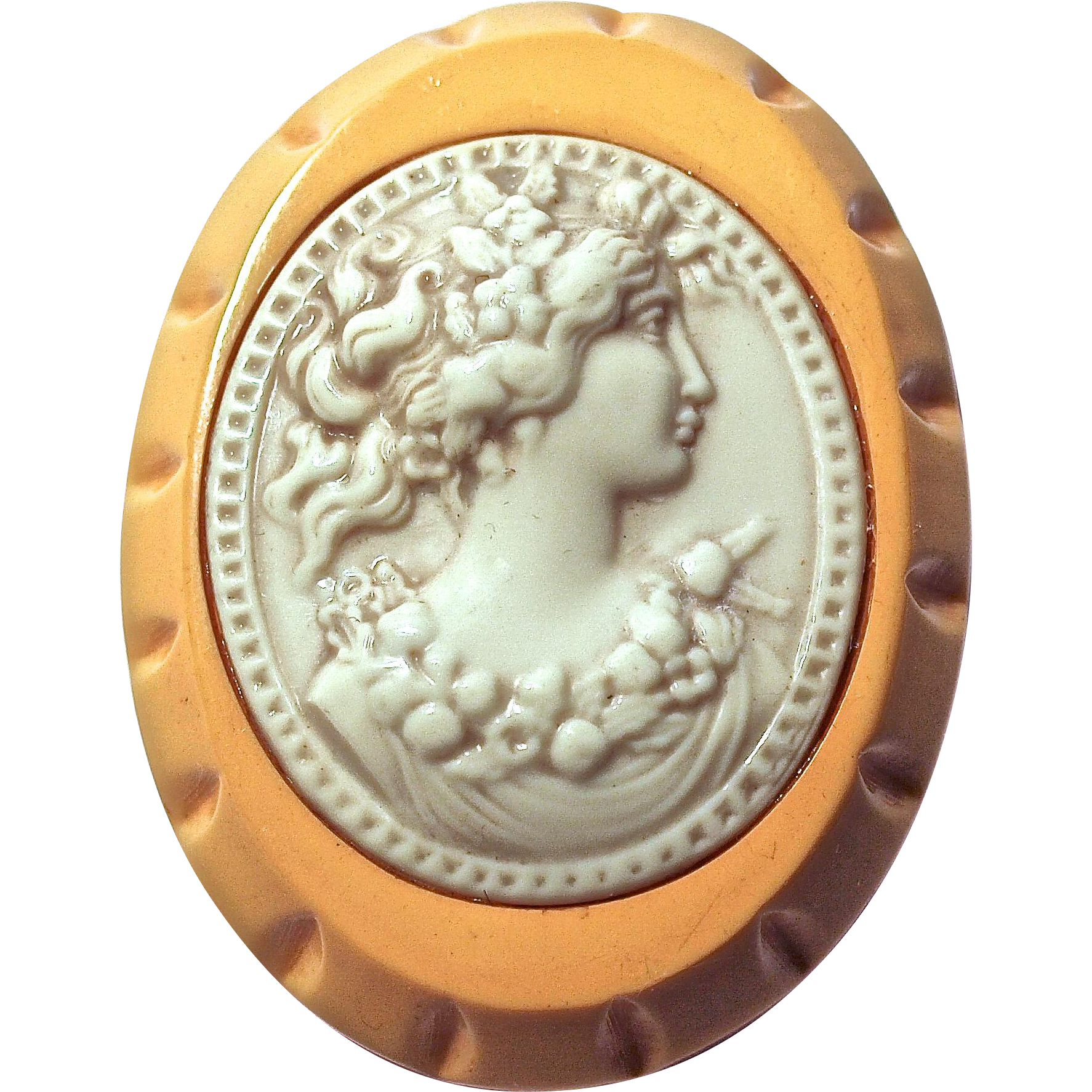 CAMEO - Butterscotch Bakelite & Celluloid Profile of Beautiful Woman
