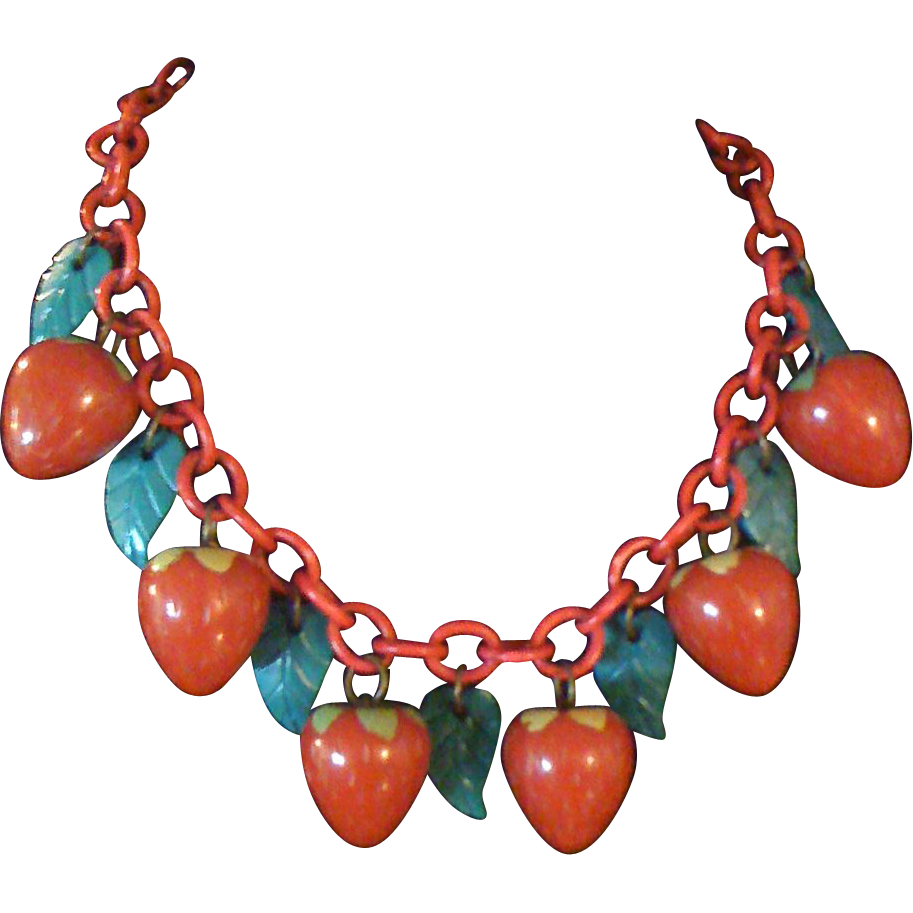 RARE 1930s Bakelite Strawberry Necklace