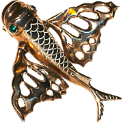 NETTIE ROSENSTEIN  - 1930s Flying Fish Vermeil Large Fur Clip/Brooch