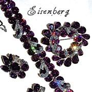 EISENBERG Parure - Rare Deep Amethyst Rhinestone Bracelet - Brooch - Clip-Ons