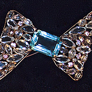 VOGUE - Huge Unfoiled Rhinestone Brooch - Aquamarine Paste Center Stone