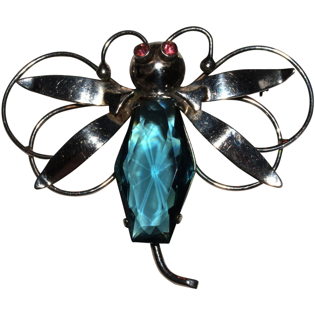 Large Retro Sterling Dragonfly Bug Brooch Pin - Unfoiled Blue Stone