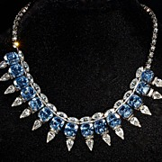 HATTIE CARNEGIE - Brilliant 3-Dimensional Azure Blue & Clear Crystal Necklace - Hattie Carnegie