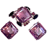 SCHIAPARELLI  Amethyst Color Brooch with Matching Clip On Earrings