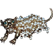 HATTIE CARNEGIE  -  HUGE Fierce Tiger Brooch/Pin - Fur of Pearls - Signed