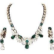 EISENBERG Ice Demi-Parure - Necklace & Clip Ons with Clear Crystals and Emerald Green Rhinestones