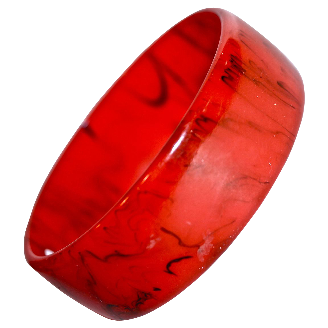 "Red Marbleized 1"" Bakelite Bracelet/Bangle"