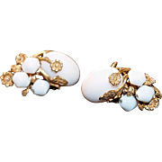 MIRIAM HASKELL 1930s  Signed Pinkish Milk Glass Flower Adjustable Clip Ons