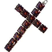 LARGE CROSS - Amethyst Color Stones on Muff Chain