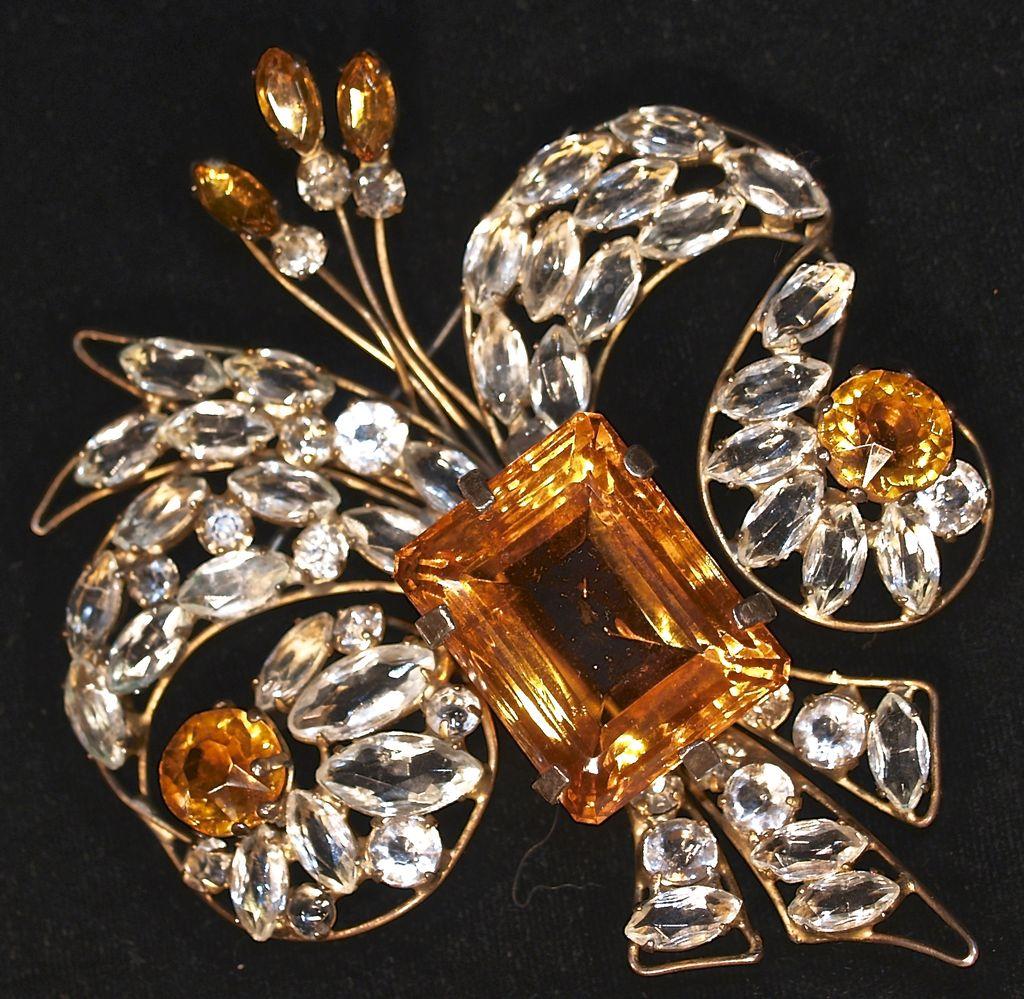 VOGUE - Huge FLEUR DE LIS Signed, Amber & Clear Unfoiled Rhinestone Vermeil Brooch/Pin